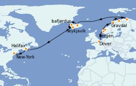 Itinéraire de la croisière Tour du Monde 2022 20 jours à bord du Coral Princess