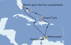 Itinéraire de la croisière Caraïbes de l'Est 11 jours à bord du ms Zaandam