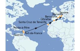 Itinéraire de la croisière Transatlantiques et Grands Voyages 2022 16 jours à bord du Costa Fortuna