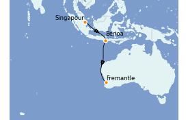 Itinéraire de la croisière Australie 2021 8 jours à bord du Queen Elizabeth
