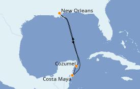 Itinéraire de la croisière Caraïbes de l'Ouest 6 jours à bord du Carnival Valor