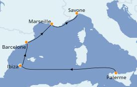 Itinéraire de la croisière Méditerranée 6 jours à bord du Costa Diadema