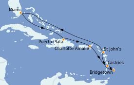 Itinéraire de la croisière Caraïbes de l'Est 10 jours à bord du Grandeur of the Seas
