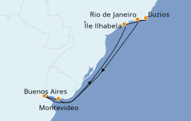 Itinéraire de la croisière Amérique du Sud 10 jours à bord du MSC Sinfonia