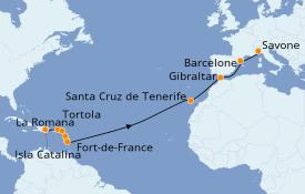 Itinéraire de la croisière Transatlantiques et Grands Voyages 2022 19 jours à bord du Costa Fortuna