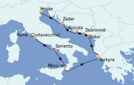 Itinéraire de la croisière Grèce & Adriatique 8 jours à bord du MS Riviera