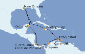 Itinéraire de la croisière Caraïbes de l'Est 15 jours à bord du Carnival Glory