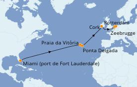 Itinéraire de la croisière Îles Canaries 15 jours à bord du ms Rotterdam
