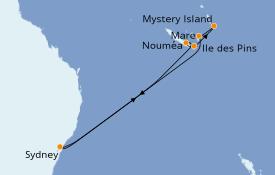 Itinéraire de la croisière Australie 2021 10 jours à bord du Carnival Splendor