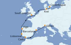 Itinéraire de la croisière Méditerranée 12 jours à bord du MSC Virtuosa