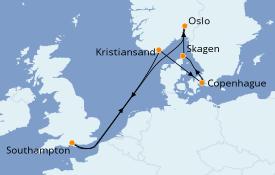 Itinéraire de la croisière Îles Britanniques 8 jours à bord du Crown Princess