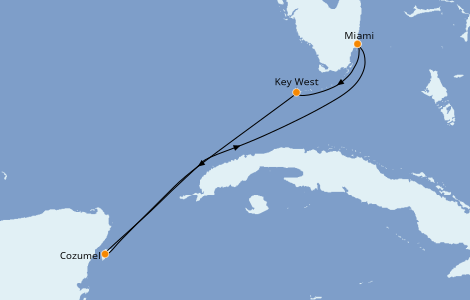 Itinéraire de la croisière Caraïbes de l'Ouest 4 jours à bord du Carnival Sunrise