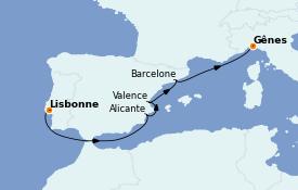 Itinéraire de la croisière Méditerranée 6 jours à bord du MSC Fantasia