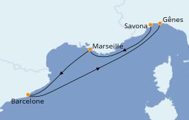 Itinéraire de la croisière Méditerranée 4 jours à bord du Costa Victoria