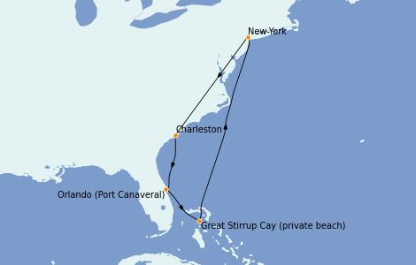 Itinéraire de la croisière Canada 7 jours à bord du Norwegian Gem