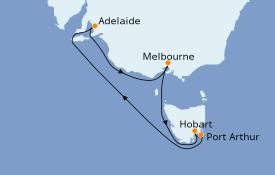 Itinéraire de la croisière Australie 2020 8 jours à bord du Queen Elizabeth