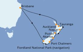 Itinéraire de la croisière Australie 2021 15 jours à bord du Sun Princess