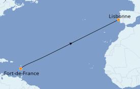 Itinéraire de la croisière Méditerranée 12 jours à bord du Le Champlain