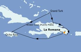 Itinéraire de la croisière Caraïbes de l'Est 8 jours à bord du Costa Pacifica