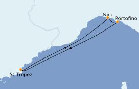 Itinéraire de la croisière Méditerranée 4 jours à bord du Club Med 2