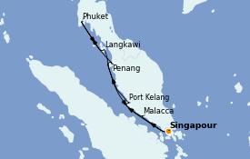 Itinéraire de la croisière Asie 8 jours à bord du Diamond Princess