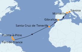Itinéraire de la croisière Transatlantiques et Grands Voyages 2021 16 jours à bord du Costa Favolosa