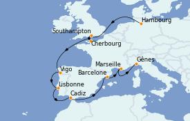 Itinéraire de la croisière Méditerranée 12 jours à bord du MSC Orchestra