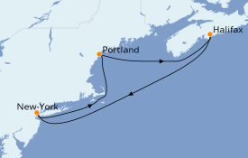 Itinéraire de la croisière Canada 6 jours à bord du Norwegian Joy