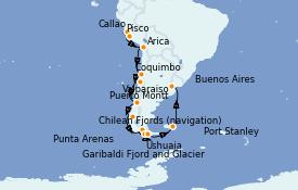 Itinéraire de la croisière Amérique du Sud 22 jours à bord du Silver Moon