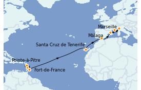 Itinerario de crucero Trasatlántico y Grande Viaje 2022 16 días a bordo del MSC Seaview