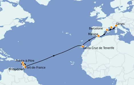 Itinéraire de la croisière Transatlantiques et Grands Voyages 2022 15 jours à bord du MSC Seaview