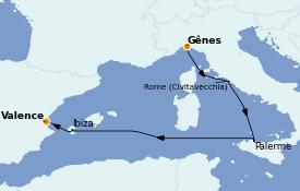 Itinéraire de la croisière Méditerranée 6 jours à bord du MSC Seaside