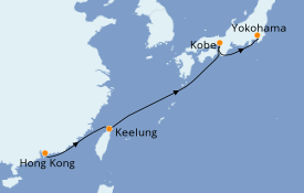 Itinéraire de la croisière Asie 9 jours à bord du MSC Bellissima