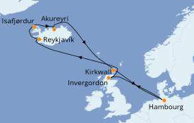 Itinéraire de la croisière Exploration polaire 12 jours à bord du MSC Preziosa