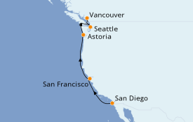 Itinéraire de la croisière Californie 8 jours à bord du Serenade of the Seas