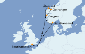 Itinéraire de la croisière Fjords & Norvège 8 jours à bord du Anthem of the Seas