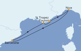 Itinéraire de la croisière Méditerranée 6 jours à bord du Azamara Pursuit
