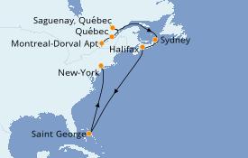 Itinéraire de la croisière Canada 11 jours à bord du Seven Seas Navigator