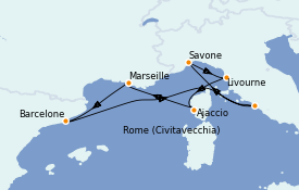 Itinéraire de la croisière Méditerranée 8 jours à bord du Costa Luminosa