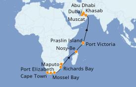 Itinéraire de la croisière Afrique 19 jours à bord du Norwegian Jade