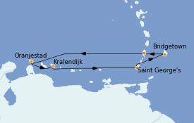 Itinéraire de la croisière Caraïbes de l'Est 8 jours à bord du MS Sirena