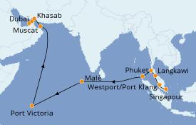 Itinéraire de la croisière Asie 21 jours à bord du Norwegian Jade