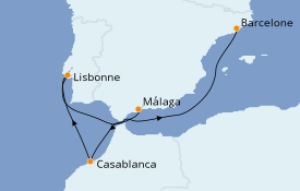 Itinéraire de la croisière Méditerranée 6 jours à bord du MSC Splendida