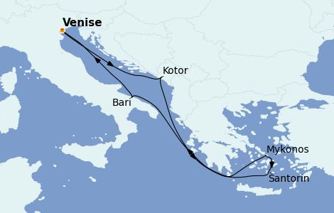 Itinéraire de la croisière Grèce & Adriatique 7 jours à bord du MSC Sinfonia