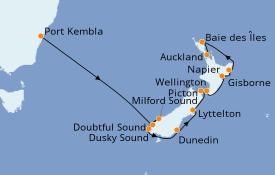 Itinéraire de la croisière Australie 2021 12 jours à bord du Norwegian Jewel