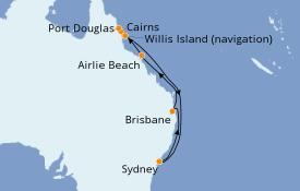 Itinéraire de la croisière Australie 2020 11 jours à bord du Sun Princess