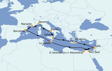 Itinéraire de la croisière Méditerranée 14 jours à bord du Costa Diadema