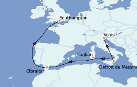 Itinéraire de la croisière Méditerranée 10 jours à bord du Queen Victoria