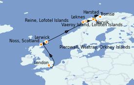 Itinéraire de la croisière Fjords & Norvège 13 jours à bord du Silver Cloud Expedition