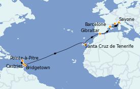 Itinéraire de la croisière Méditerranée 16 jours à bord du Costa Diadema